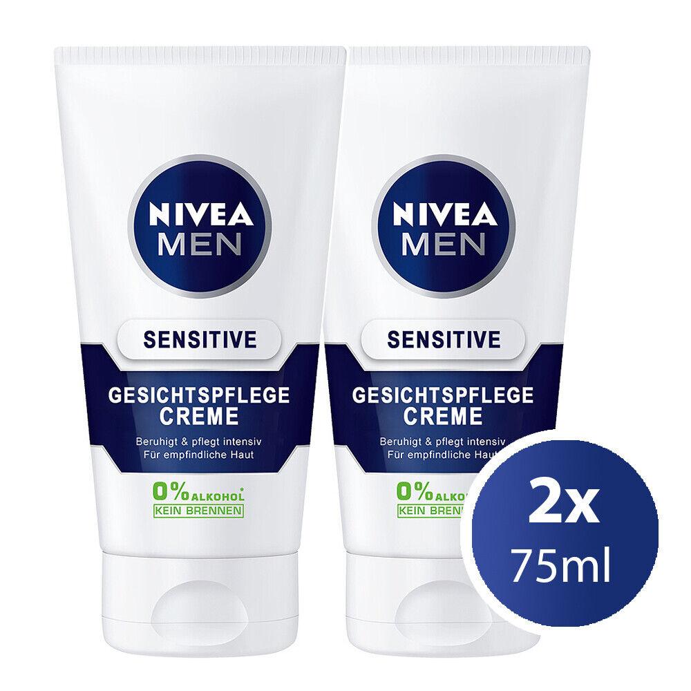 2x75ml NIVEA MEN Sensitive Gesichtspflege - Feuchtigkeits Gesichtscreme Männer