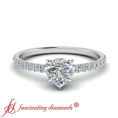 1.25 Carat Heart Shaped Diamond Under Halo Engagement Ring With Round Accents 1