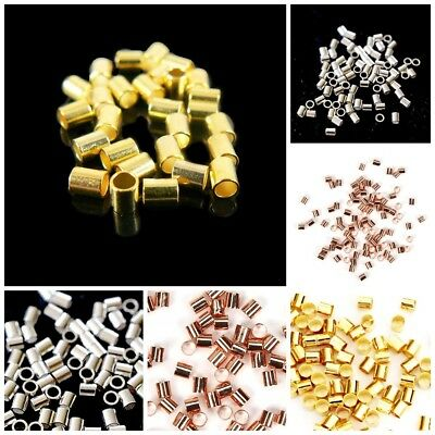 Sterling Silver 14k Gold Filled Rose Gold Jewelry making Tube Crimp Beads USA