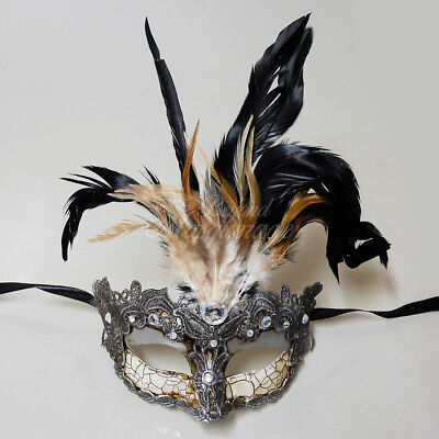 Masquerade Mask Feather Lace Venetian Mardi Gras Masks for Women - Silver M7629](Masquerade Mardi Gras Masks)