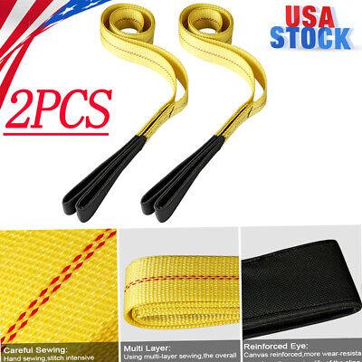 Pair 6ft Nylon Eyeeye Web Lifting Sling Flat Loops Rigging Towing Hoist Straps