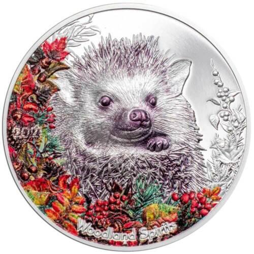 WOODLAND SPIRITS: HEDGEHOG 2021 Mongolia 1oz silver coin