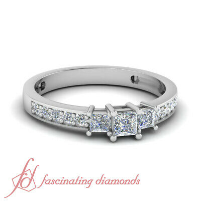 Princess Cut Pave Set - 1/2 Ct Princess Cut Natural Diamond 3 Stone Engagement Ring Pave Set 14K Gold