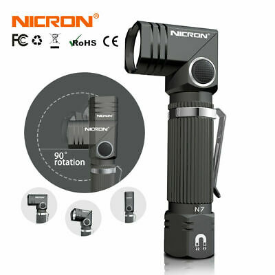 LED Flashlight NICRON N7 600 lumens 90° angle head rotation-NO Battery Included