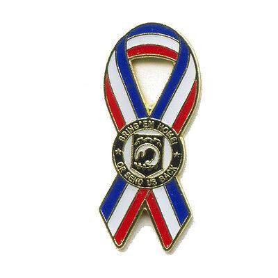 Pow Mia Pow*Mia Schleife mit Emblem - Badge Metall Button Pin Anstecker 0548