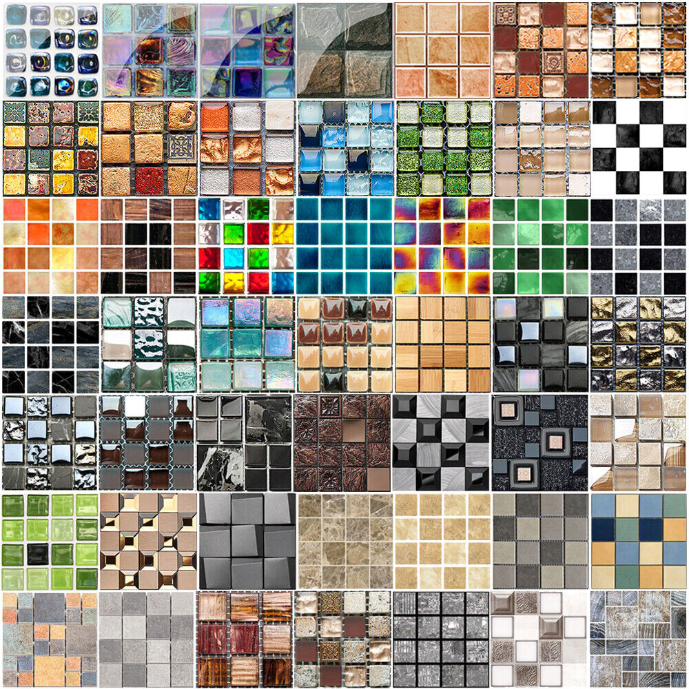 Home Decoration - 3D Mosaic Sticker Kitchen Tile Stickers Bathroom Self-adhesive Wall Decor Home