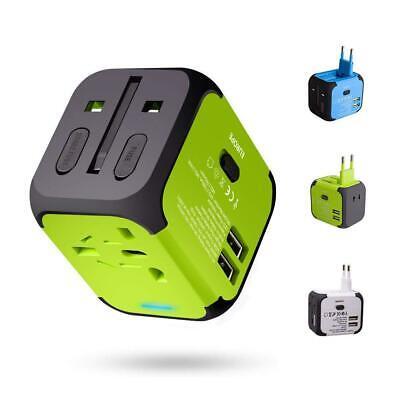 Travel Adapter Adattatore Universale da Viaggio con 2 USB 3.0 Verde