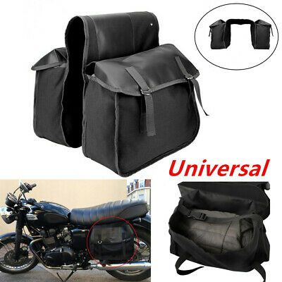 Canvas&Leather Storage Bag Saddle Bag strapped Flap Motorcycle RearTail (Leather Like Saddlebags)