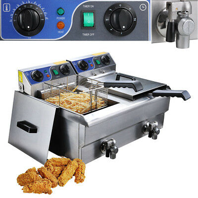 23.4l Commercial Deep Fryer W Timer Drain Fast Food French Frys Electric Cooker