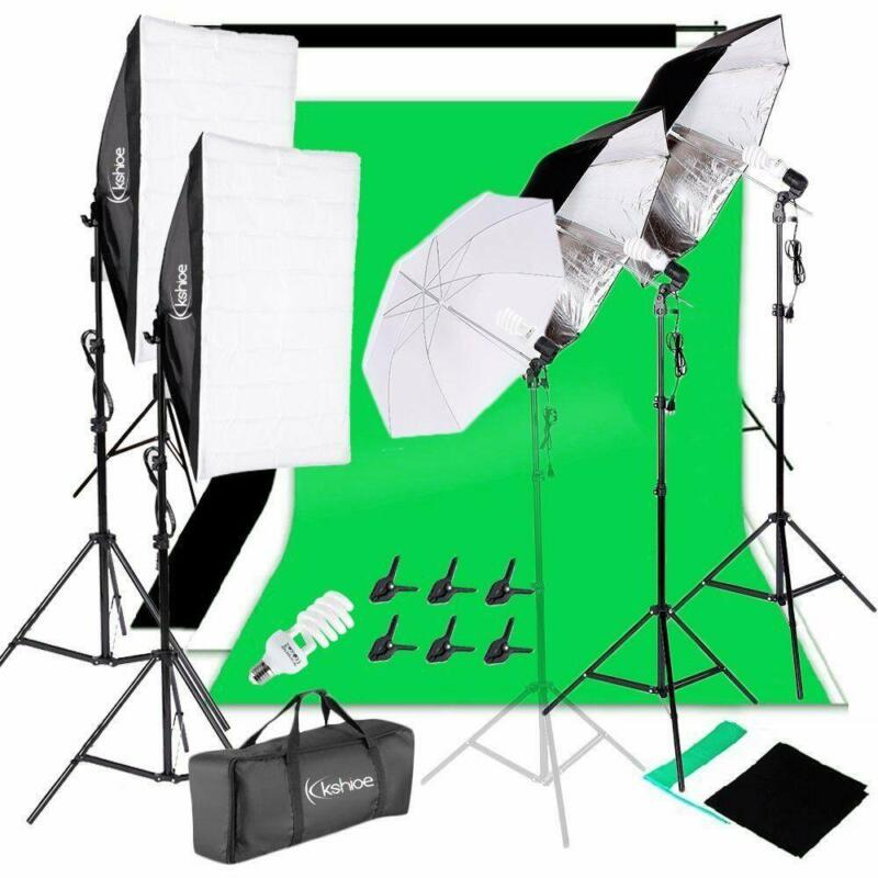 "Kshioe Photography Video Studio Lighting Kit Background Stand Set 3x33"" Umbrella"