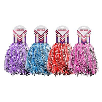 2x Pom Poms Kids Party Cheerleader Blue,Red,Purple and Pink (Red And Blue Pom Poms)