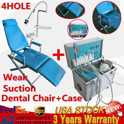 Dental Folding Mobile Chair W Led Lightdelivery Unit Rolling Case Weak Suction