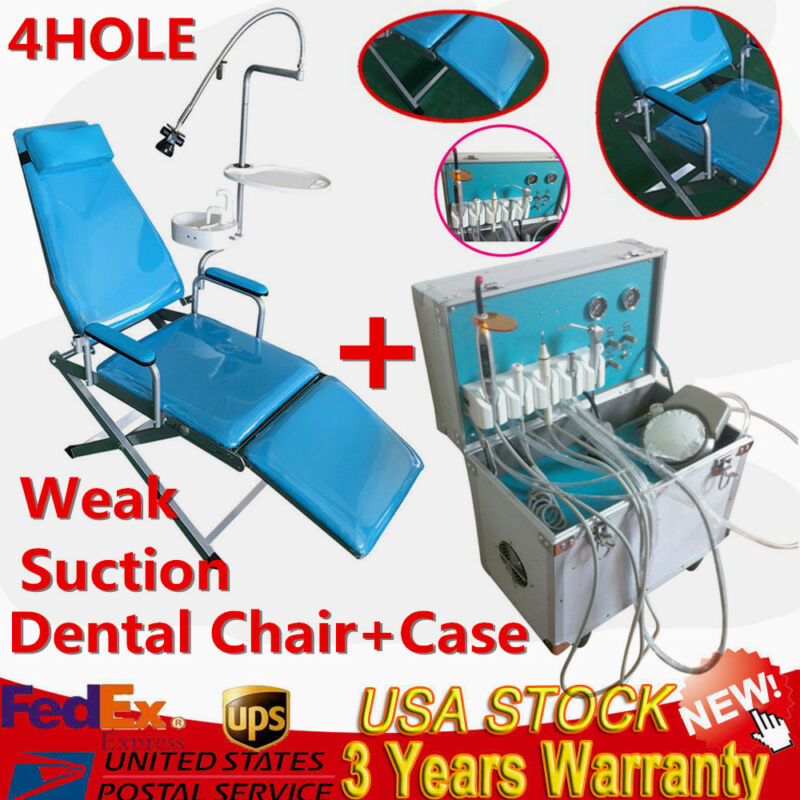 Dental Folding Mobile Chair W/ LED Light+Delivery Unit Rolling Case Weak Suction