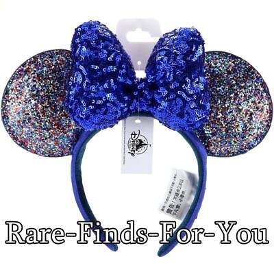Minnie Mouse Ears Adult (Disney Parks New Year 2020 Minnie Mouse Ears Blue Sequin Bow Headband)