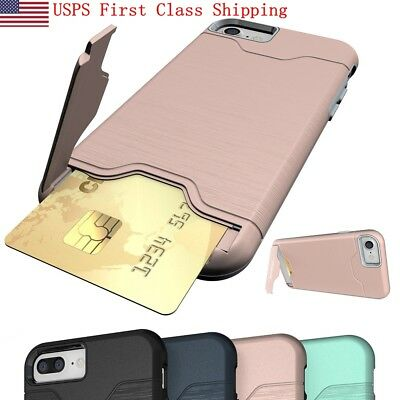 Credit Card Holder Wallet Case Shockproof Phone Cover For Iphone X 6 6S 7 8 Plus