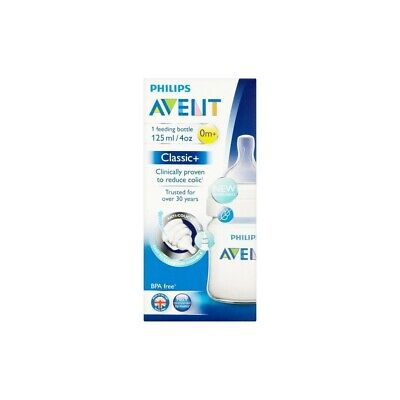 Philips Avent Classic+ Feeding Bottle 1x125ml 4oz 0m+ Anti-Colic System NEW ()