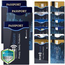 15pc Durable Reusable RFID Blocking 12 Credit Card 3 Passport Holder Case Sleeve
