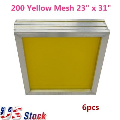 Usa - 6pcs 23 X 31 Aluminum Silk Screen Frame - 200 Yellow Mesh