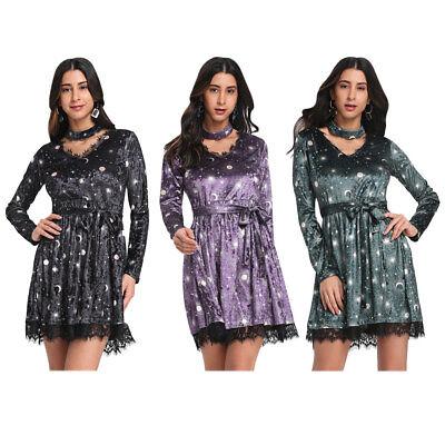Women Punk Rave Gothic Dress Velvet Lolita Witch Lace Corset Coat Party (Rave Dress)