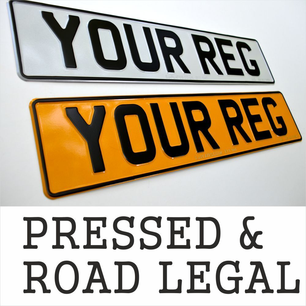 Car Parts - PAIR 2x 3D PRESSED METAL ALUMINIUM NUMBER PLATES Registration MOT DVLA COMPLIANT