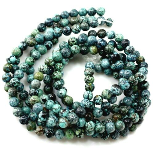 "Kingman Natural Genuine  Turquoise Round 6mm Beads 15""(TU724) Jewelry Making"