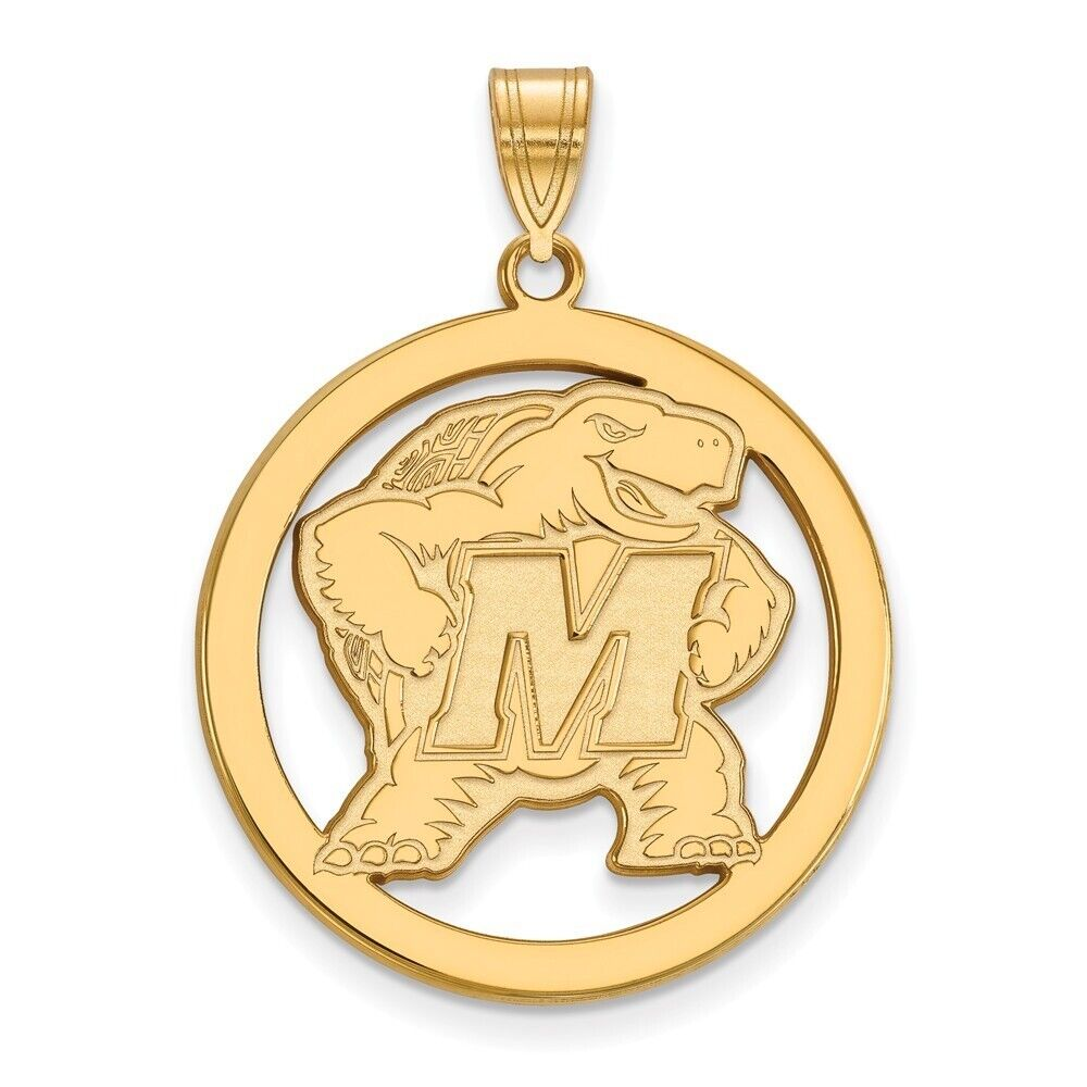 925 Sterling Silver Officially Licensed Maryland XL Disc Pendant