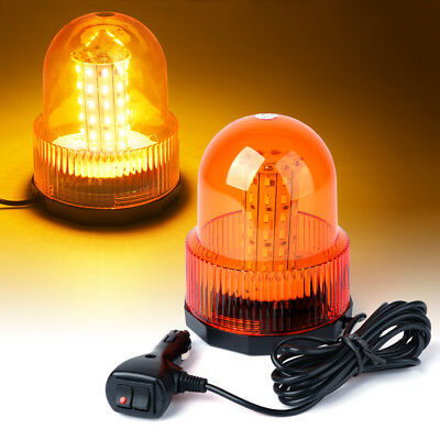 60 Led Emergency Truck Magnetic Mount Rooftop Rotating Beacon Strobe Light Amber