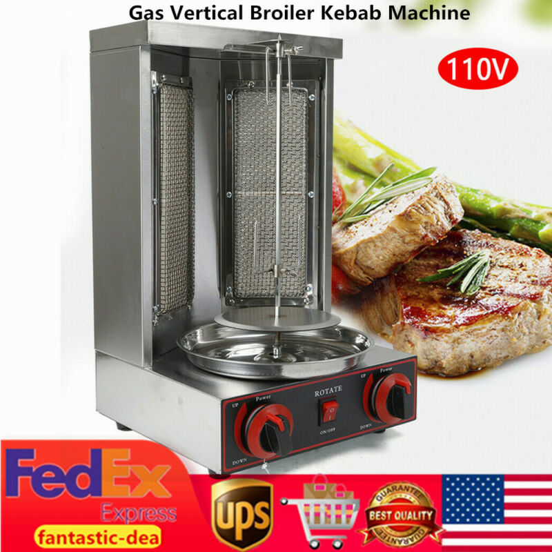 Gas Vertical Broiler Cooking Machine Spinning Doner Kebab Shawarma Gyro Grill US