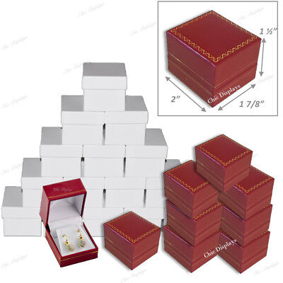 Jewelry Gift Boxes For Earrings Wholesale Jewelry Boxes Red Earring Boxes 48-pc