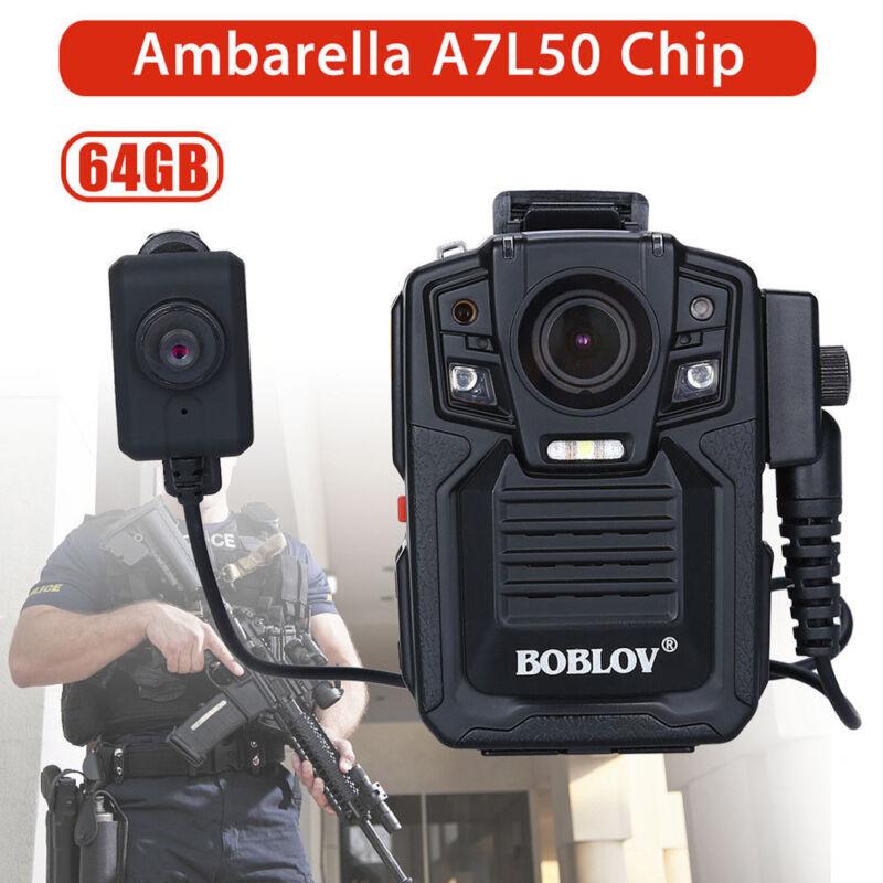 BOBLOV A7 1296P HD Police Body Camera Worn w/ 64GB Storage Memory + HD Lens