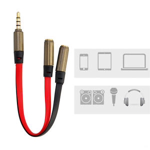 3.5 mm Earphone Headphone Y Splitter Cable Adapter Jack Male To Double Female UK