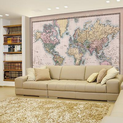 Mercator Projection Political Map Of The World Illustration Wall Mural 66 x 96