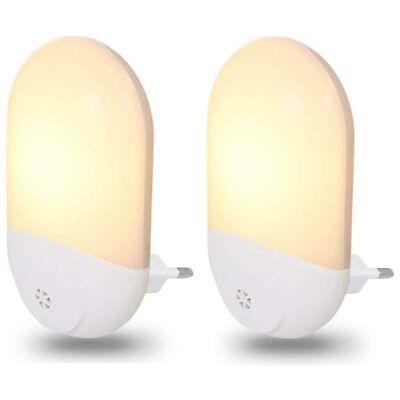 2x Lampade Notte Luce Notturna LED Bianco Caldo Sicurezza Bambini Crepuscolare