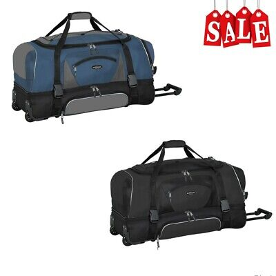 "Polyester Large Roll Bag (36"" Rolling Wheeled Duffle Bag Extra Large Travel Suitecase Luggage Black & Blue )"