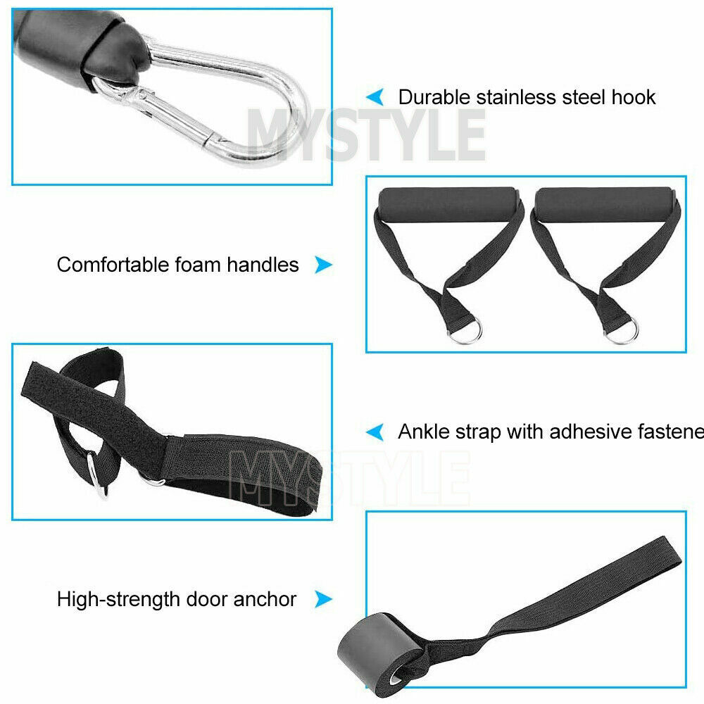 13PCS Resistance Exercise Bands Yoga Pilates Strap Home Gym Tube Fitness Workout