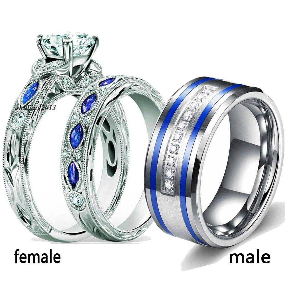 Couple Rings Blue Titanium Steel Men Ring Band Round CZ Wome
