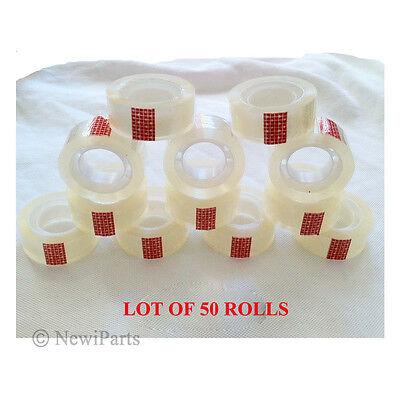 50 Rolls Transparent Crystal Clear Tape 34x1000 Dispenser Refill 1 Core New