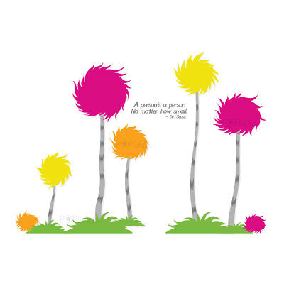 New Dr Seuss inspired Truffula trees set of 5 cotton tree wall decal Large decal