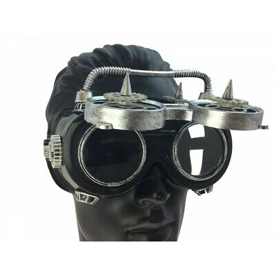 Steampunk Flip-Up Welding Goggles Antique Silver Cyber Punk Cosplay (Cyberpunk Glasses)