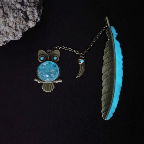 Купить 1X Luminous Night Owl Bookmark Label Read Maker Feather Book Mark Stationery