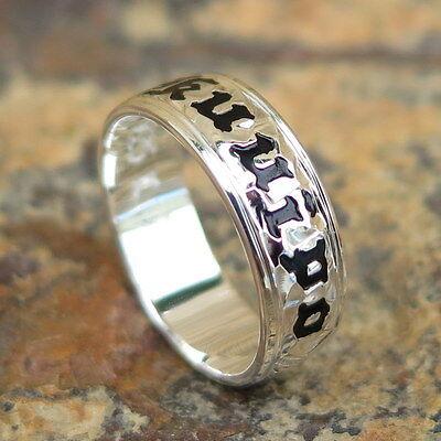 Hawaiian 925 Sterling Silver Black KUUIPO Jewelry Wedding Ring Band 6mm SR1066