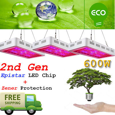 3Pcs 2Nd Gen 600W Led Grow Lights Full Spectrum Lamp Panel Plant Light