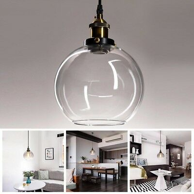 Vintage Glass Ceiling Pendant Chandelier Industrial Light Round Ball Shade -
