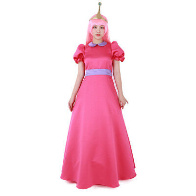 Adventure Time Princess Bubblegum Cosplay Costume Dress with Crown (Princess Bubblegum Cosplay)