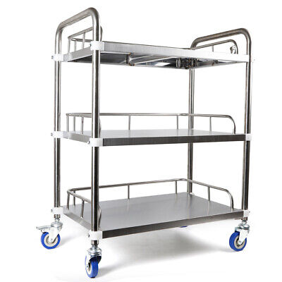 Portable 3 Layers Lab Cart Trolley Durable Stainless Steel Clinic Equipment