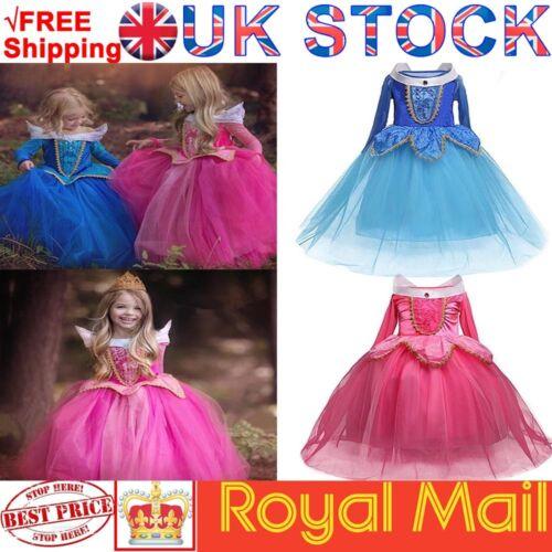 Girls Princess Aurora Fancy Dress Kids Sleeping Beauty Costume Outfit Ages 3-8