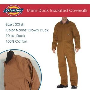 NEW Dickies Mens Duck Insulated Coveralls Condtion: New, 3xl sh, Brown Duck