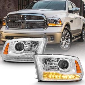 Factory Chrome 2013-2018 Dodge Ram 1500 2500 3500 Projector Headlights Headlamps