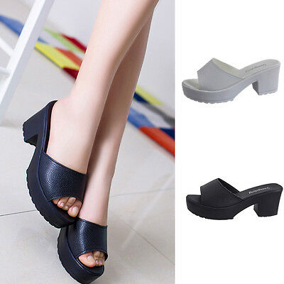Women Fashion High Heel Leather Platform Shoes Ladies Wedges Flip Flop Sandals  1