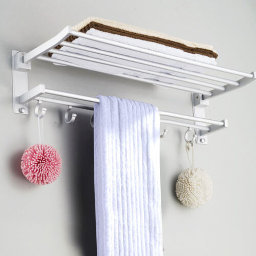 Large Double Shelf Wall Mounted Bar Bathroom Towel Rail Storage Holder Rack Hook Ebay